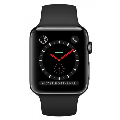 Apple Watch Series 3 LTE 42 мм (сталь черный космос/черный) [MQK92] фото 2