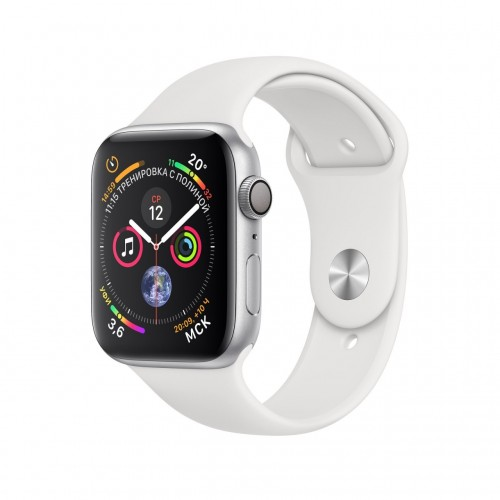 Apple Watch Series 4 44 мм (алюминий серебристый/белый) фото 1