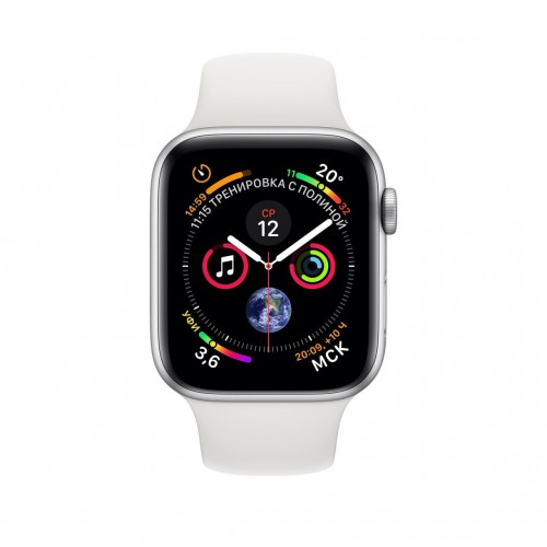 Apple Watch Series 4 44 мм (алюминий серебристый/белый) фото 2
