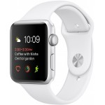 Apple Watch 42mm Stainless Steel with White Sport Band (MJ3V2) фото 1